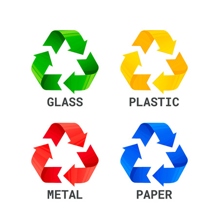 Different colored recycle waste signs. Waste types segregation recycling. Metal plastic, paper, glass waste. Waste sorting rules. Vector illustration.