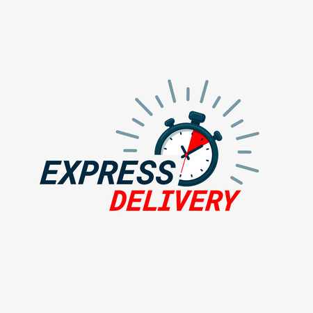Express delivery icon. Timer and express delivery inscription on light background. Fast delivery, express and urgent shipping, services, chronometer sign. vector illustration Illustration