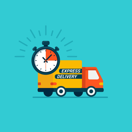 Express delivery service. Delivery by car or truck. Parcels Express delivery service. Flat style design truck icon and timer on blue background. Vector illustration Illustration