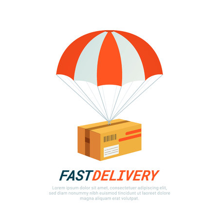 Flat design colored vector illustration of package with parachute.