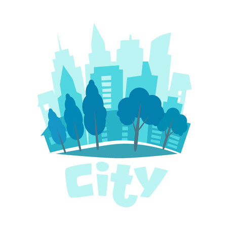 Urban landscape in flat style. City skyline vector illustration. Blue city silhouette icon. Urban life. City background. Vector illustration