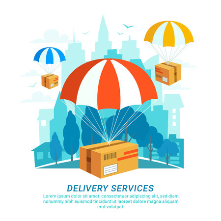 Delivery service concept in flat design, packages with parachutes on urban landscape. Vettoriali