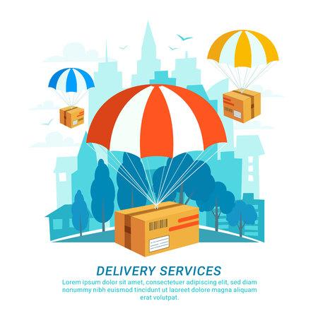 Delivery service concept in flat design, packages with parachutes on urban landscape. Illusztráció