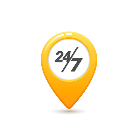 Taxi service 24 7 icon, Flat style Yellow taxi icon. Map pin with 24 7 letter sign. Yellow taxi icon on white background. Vector illustration Ilustração