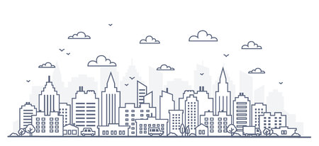 Thin line style city panorama. Illustration of urban landscape street with cars, skyline city office buildings, on light background. Outline cityscape. Wide horizontal panorama. Vector illustration Vectores