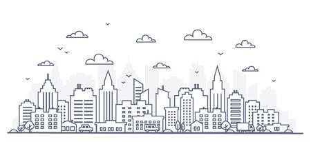 Panorama della città in stile linea sottile. Illustrazione della via urbana del paesaggio con le automobili, edifici per uffici della città dell'orizzonte, su fondo leggero. Contorno del paesaggio urbano. Ampio panorama orizzontale. Illustrazione vettoriale