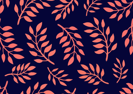 Seamless Floral Pattern. Bright pattern with branches in coral and navy colors. Floral seamless background for textile, fabric, covers, manufacturing, scrapbooking, wallpapers, print, gift wrapping Vector illustration Ilustrace