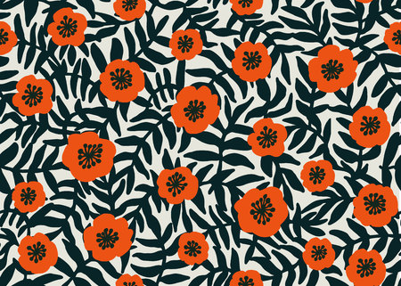 Seamless Floral Pattern. retro style Red poppies pattern with poppy flowers and dark green foliage on beige. Floral seamless background for textile, fabric, covers, wallpapers, print, gift wrap Vector  イラスト・ベクター素材