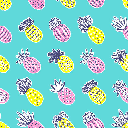Seamless pineapple pattern. Handdrawn Pinapple with different textures in pastel colors on blue teal background. Exotic fruits background For Fashion print textile fabric covers wallpapers wrap Vector