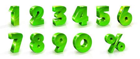 Números 1, 2, 3, 4, 5, 6, 7, 8, 9, 0 y signo de porcentaje Conjunto Adecuado para su uso en la web y carteles publicitarios carteles volantes artículos promocionales Descuentos estacionales Viernes negro Ilustración de estilo 3d