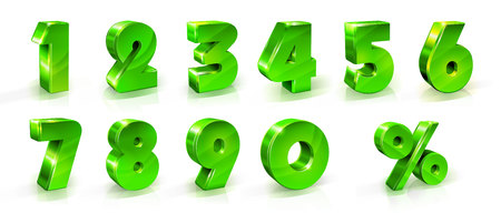 Numeri 1, 2, 3, 4, 5, 6, 7, 8, 9, 0 e segno di percentuale impostato Adatto per l'uso sul web e banner pubblicitari poster volantini articoli promozionali Sconti stagionali Black Friday illustrazione in stile 3d