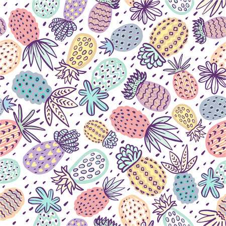 A Seamless pineapple pattern. Handdrawn Pinapple with different textures in pastel colors. Exotic fruits background For Fashion print, textile, fabric, covers, wallpapers, wrap. Vector