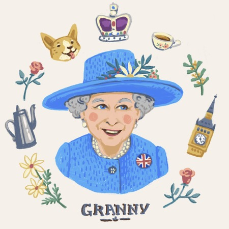 MAY 4 2018 ENGLAND: Her Royal Highness Queen Elizabeth II. Elizabeth II Elizabeth Alexandra Mary , Queen of the United Kingdom, Canada, Australia, and New Zealand, editorial illustration Editorial