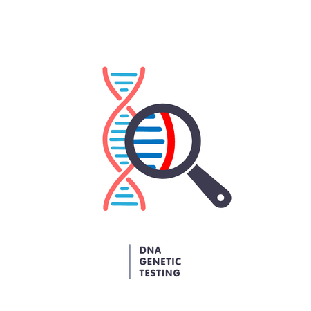 DNA, genetics testing icon. dna chain in magnifying glass sign.