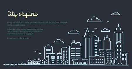 City landscape template. Thin line night City landscape. Downtown landscape with high skyscrapers on dark. Panorama architecture Goverment buildings outline illustration. Skyline Vector illustration  イラスト・ベクター素材