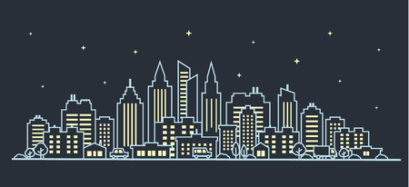 Night City landscape. Thin line night City landscape. Downtown landscape with high skyscrapers on dark. Panorama architecture Goverment buildings outline illustration. Skyline Vector illustration  イラスト・ベクター素材