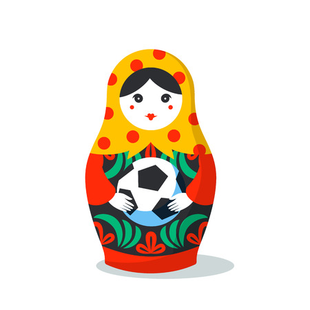Russian Matrioshka. Russia symbol with soccer ball. Vector traditional russian nesting doll with football ball. Matroska icon on light background.
