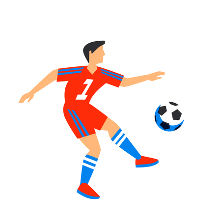 Abstract in red  player with ball. Soccer player Isolated on a white backgroun.  player in Russia 2018. Fool color illustration in flat style. Vector illustration.