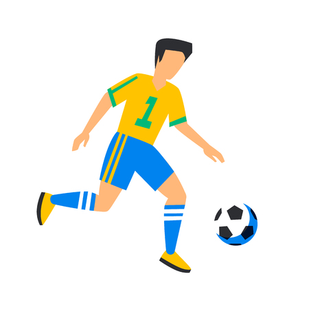 Abstract yellow football player with ball. Soccer player Isolated on a white background.