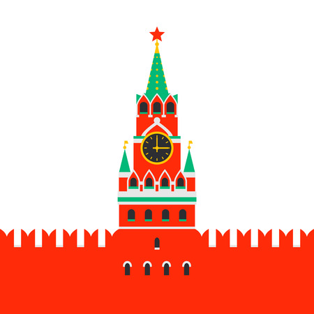 Moscow Kremlin. Spasskaya tower of the Kremlin on red square in Moscow, Russia. Russian national landmark in flat style ob white background. Vector illustration