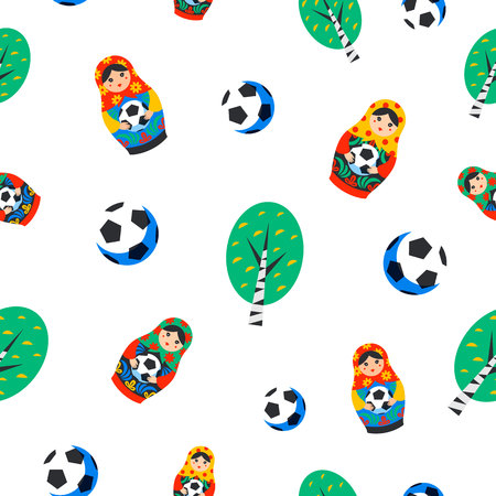 Seamles pattern with Russian Matrioshka, birch and football ball in flat style. Russia symbol with soccer ball. Traditional nesting doll Matreshka with football ball on white background. Vector