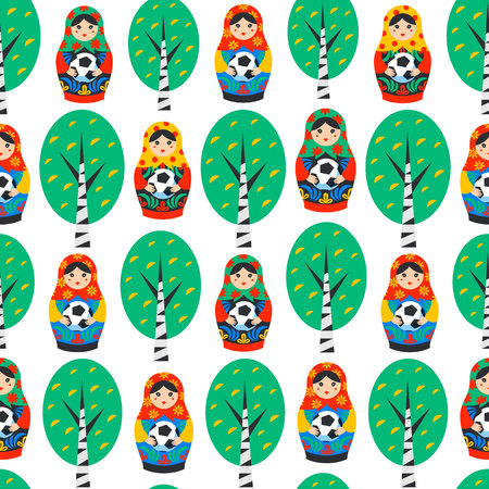 Seamles pattern with Russian Matrioshka, birch and football ball in flat style. Russia symbol with soccer ball. Traditional nesting doll Matreshka with football ball on white background. Vector Ilustracja