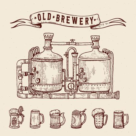 Vintage engraving style beer set. Retro brewery engraving. Copper tanks and barrels, beer mugs and ribbon. Craft beer Local brewery. Beer pint hand drawn ink sketch. Vector illustration. Vektorgrafik