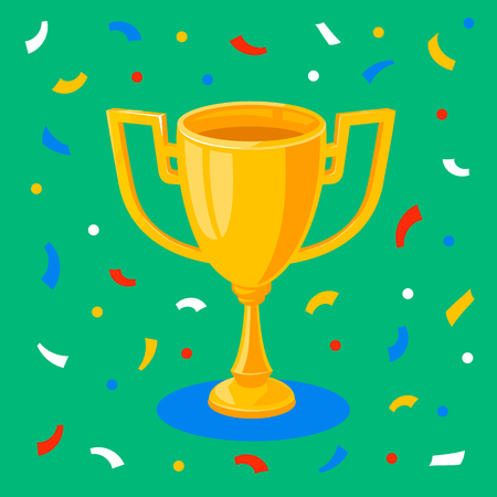 Winner gold cup and confetti on green background. First place prize. The winners goblet. Football soccer championship. Tropy reward. Flat cartoon style Vector illustration