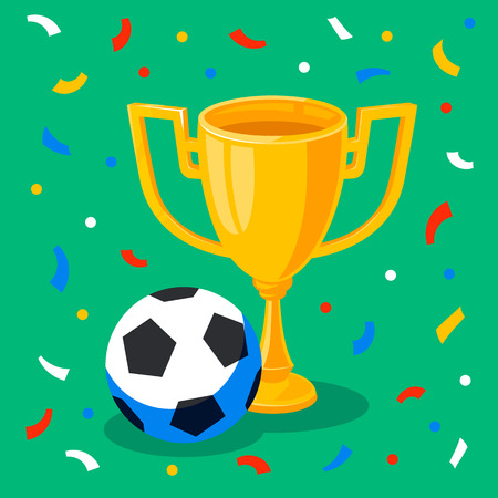 Winner gold cup, football ball and confetti on green background. First place prize. Sport winners goblet. Football or soccer championship. Tropy reward. Flat cartoon style Vector illustration
