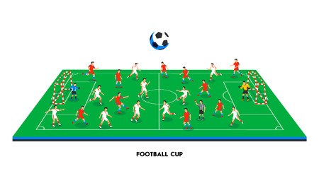 3D isometric football field with football teams. Sport theme, soccer sports field, stadium. Colorful football players on different positions playing soccer. vector illustration in flat style.