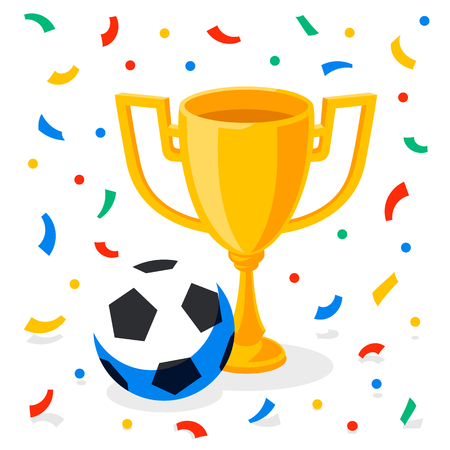 Winner gold cup, football ball and confetti on white background. First place prize. Sport winners goblet. Football or soccer championship. Tropy reward. Flat cartoon style Vector illustration