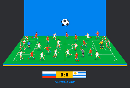 3D isometric football field with football teams. Sport theme, soccer sports field, stadium. Colorful football players on different positions playing soccer. Score table. vector illustration in flat style.