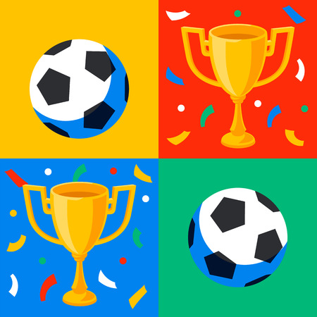 Winner gold cup, football ball and confetti in pop art style. First place prize. Sport winners goblet. Football or soccer championship. Tropy reward. Flat cartoon style Vector illustration