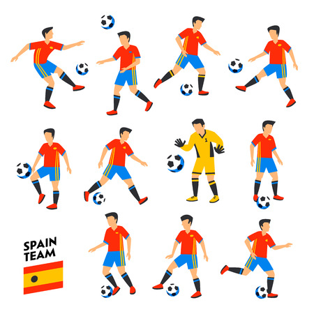 Spain football team. Spain soccer players. Full Football team, 11 players. Spanish Soccer players on different positions playing football. Colorful flat style illustration. Football cup. Vector illustration
