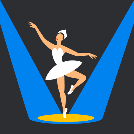 Ballet dancer on stage. ballerina dancing in the highlights. flat style image on a dark background. Vector illustration