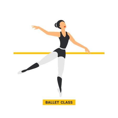 Ballet class. ballerina dancing in dance studio. flat style image on white background. Vector illustration