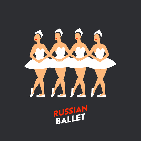 Russian Ballet dancers. Four ballerinas dancing swan lake on a dark background. Russian ballet by Tchaikovsky Swan Lake. Flat style Vector illustration Illustration