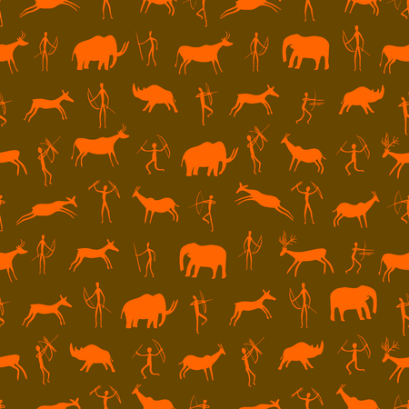 Seamless pattern. Ancient rock drawing with primitive people and prehistoric animals. The Paleolithic era. vector illustration Ilustração