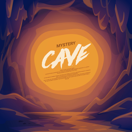 Cave landscape with place for text.. cartoon mountain scene background vector illustration Illustration