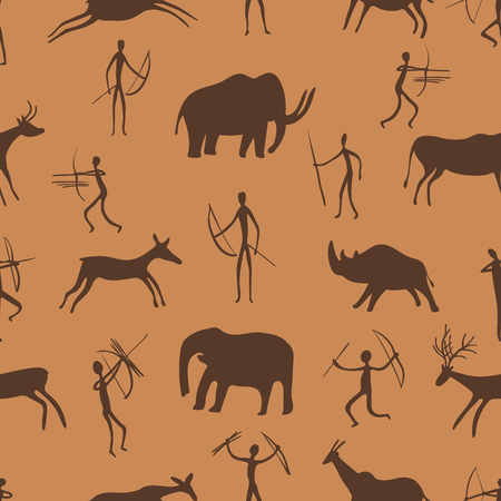 Seamless pattern. Ancient rock paintings show primitive people hunting on animals. The Paleolithic era. vector illustration