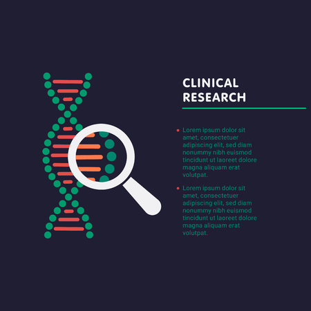 Clinical research concept. dna chain in magnifying glass sign. genetic engineering, cloning, paternity testing. vector illustration