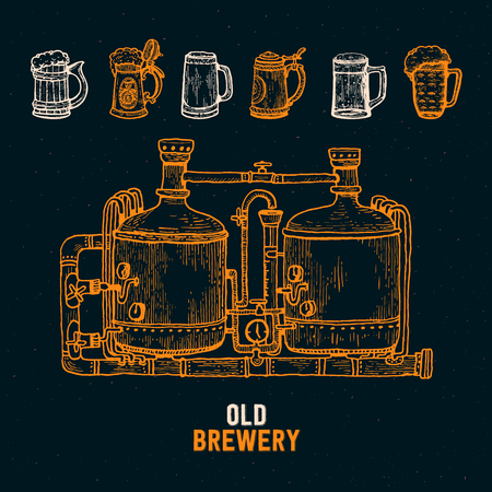 Old Brewery Factory engraving style Background. Lineart sketch graphic. Craft beer manufacturing. Vector illustration