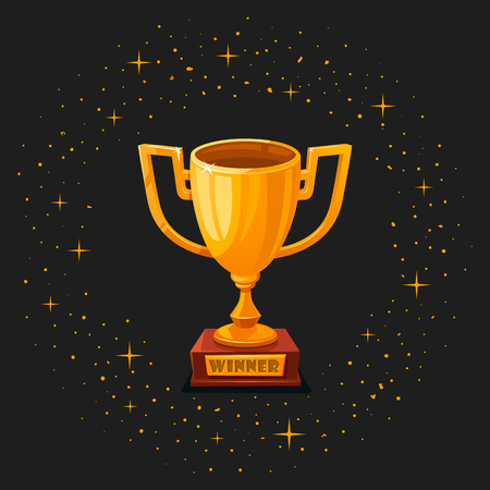 Winner gold cup. First place prize. The winner s goblet. Tropy reward. cartoon style Vector illustration
