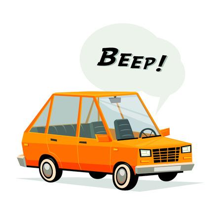 Beeping cartoon car. Flat style orange car on white background. Vecror illustration.