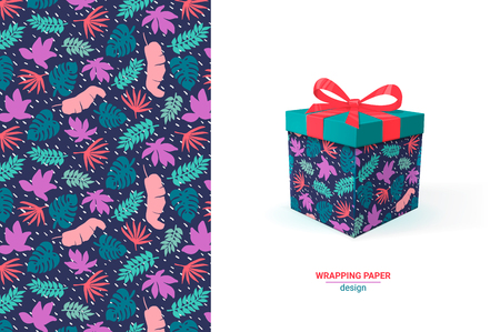 Gift wrapping design. Floral seamless pattern. Box template with example of usage, pattern in swatches. Colorfull wrapping paper, cards, wallpapers, scrapbooking, print, manufacturing, textile Vector
