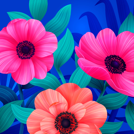 Luminous tropical background with pink and coral flowers. Beautiful anemones and leaves on blue background. Trendy design for wallpapers, screensavers, wedding or greeting cards. Vector illustration. Иллюстрация