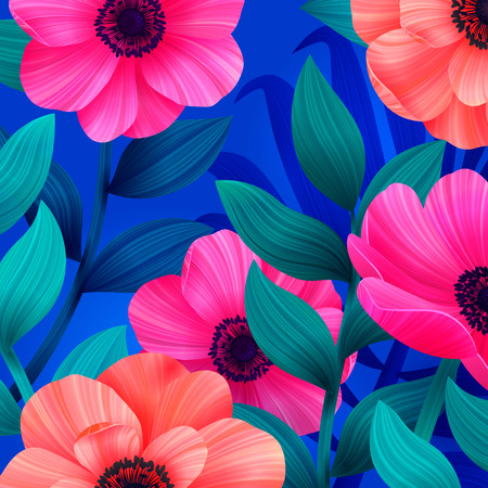 Luminous tropical background with pink and coral flowers. Beautiful anemones and leaves on blue background. Trendy design for wallpapers, screensavers, wedding or greeting cards. Vector illustration.