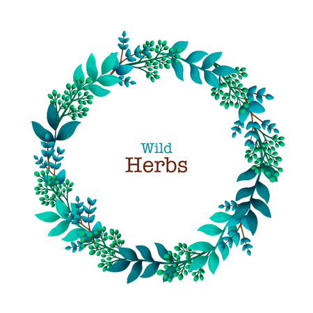 Herbal pre-made composition. Round wreath with leaves and branches. Summer wild herbs with space for your text. Healing Herbs for cards, wedding invitation, save the date or greeting design. Vector