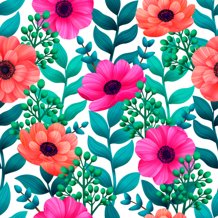 Luminous tropical seamless pattern with 3d style flowers and leaves on white background. Trendy design for wallpapers textile screensavers wedding or greeting cards. Vector illustration. Vektorové ilustrace