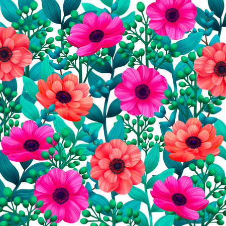 Luminous tropical background with 3d style flowers and leaves on white. Trendy design for wallpapers, screensavers, wedding or greeting cards. Vector illustration.